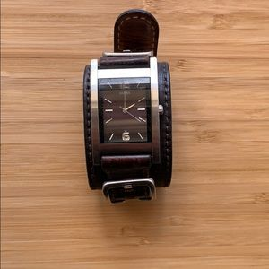 Guess Brown Leather Cuff Watch (rate item!)